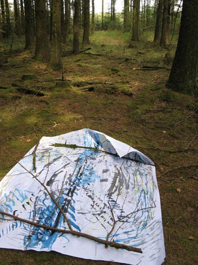 Karen Howse  'Sound Map'  pen & brush with Chinese ink 180cm x 170cm (2010 Witherdon Woods)