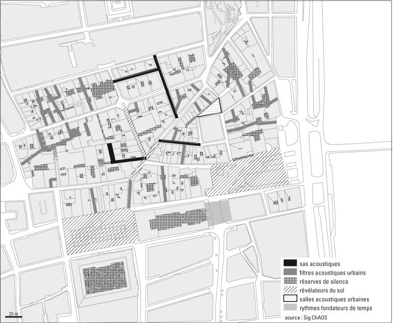 Les chorographies de l'urbanité sonore - Figure 1 : Découverte sonore du quartier à partir des lieux et parcours remarquables en 1996 (Lyon)