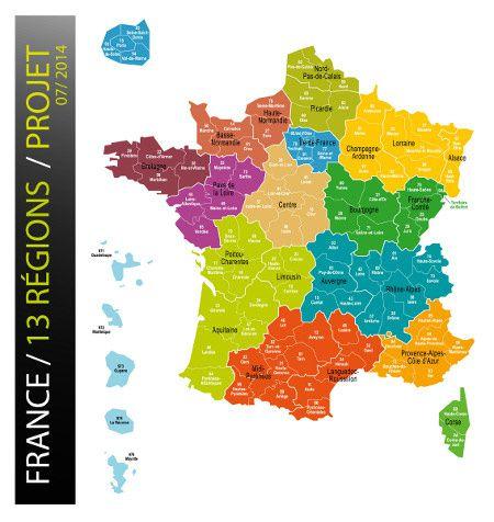 carte des nouvelles régions de l'Etat français.
