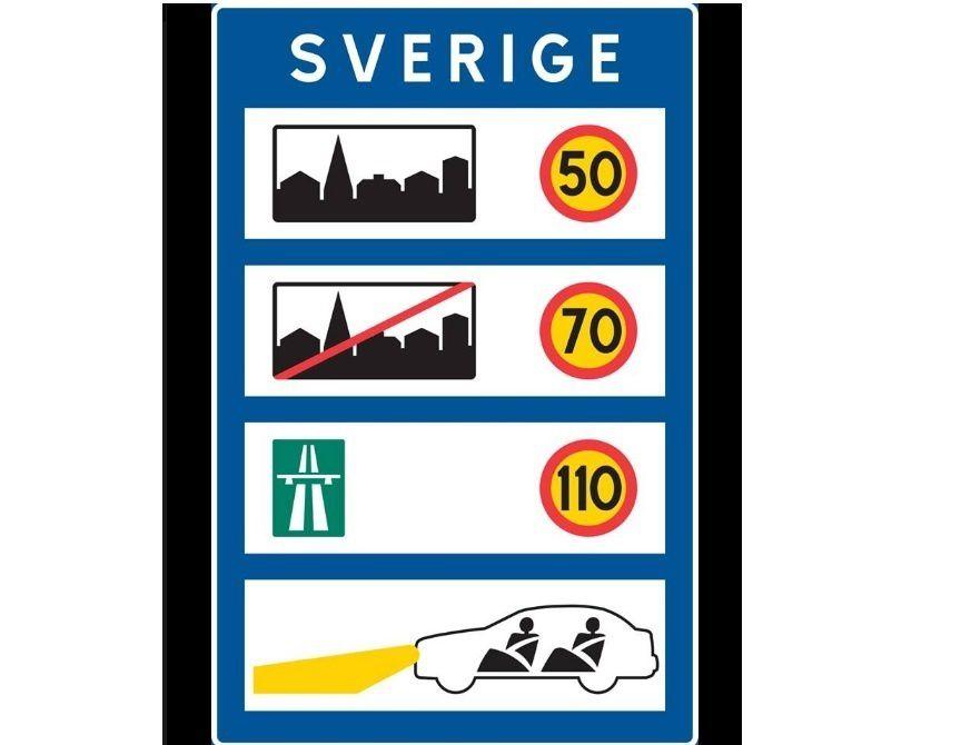 Panneau de limitation de vitesse à l'entrée de la Suède