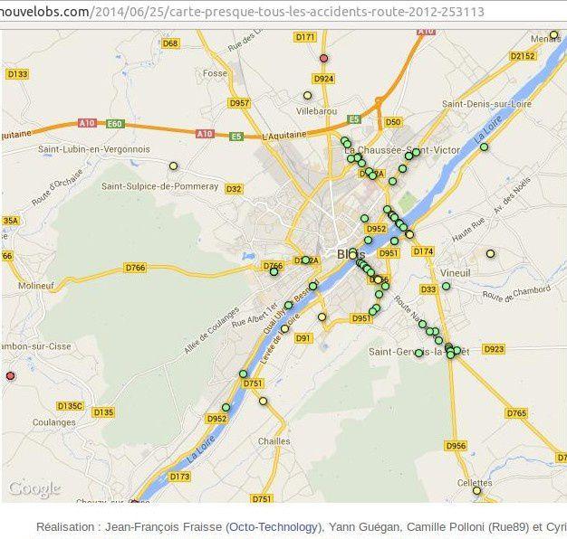Une première: Le &quot&#x3B;nouvel obs&quot&#x3B; du 25 juin 2014 met en ligne une carte interactive des accidents de la route en 2012 en France