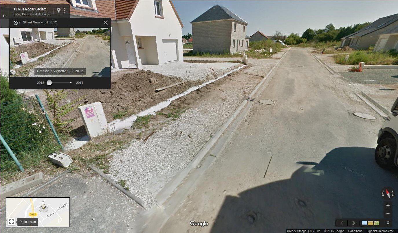 La rue Roger Leclerc en 2012 avec un prolongement tout neuf (vue google maps)