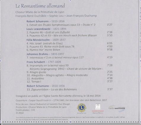 Parution  CD du Choeur Mixte de la Primatiale de Lyon : Le Romantisme allemand