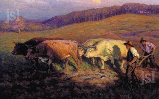 Le labour aux champs dans le Mâconnais par Honoré Hugrel