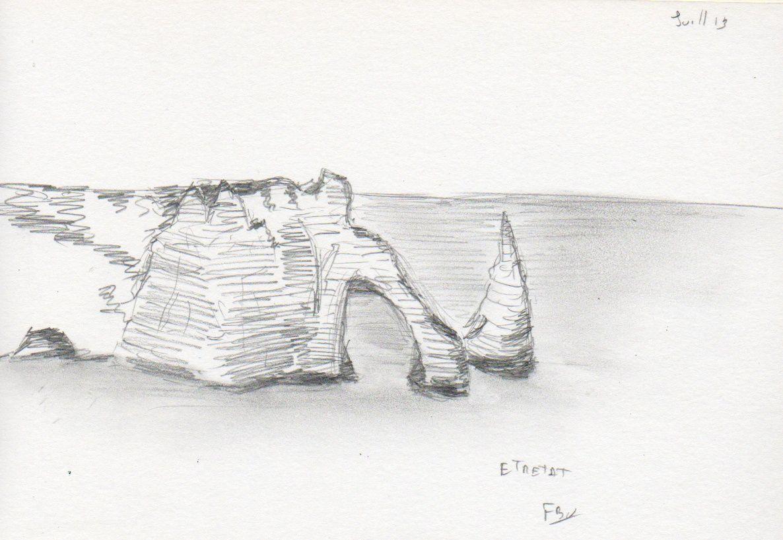 Falaise d'Etretat, dessin au crayon fait sur site.