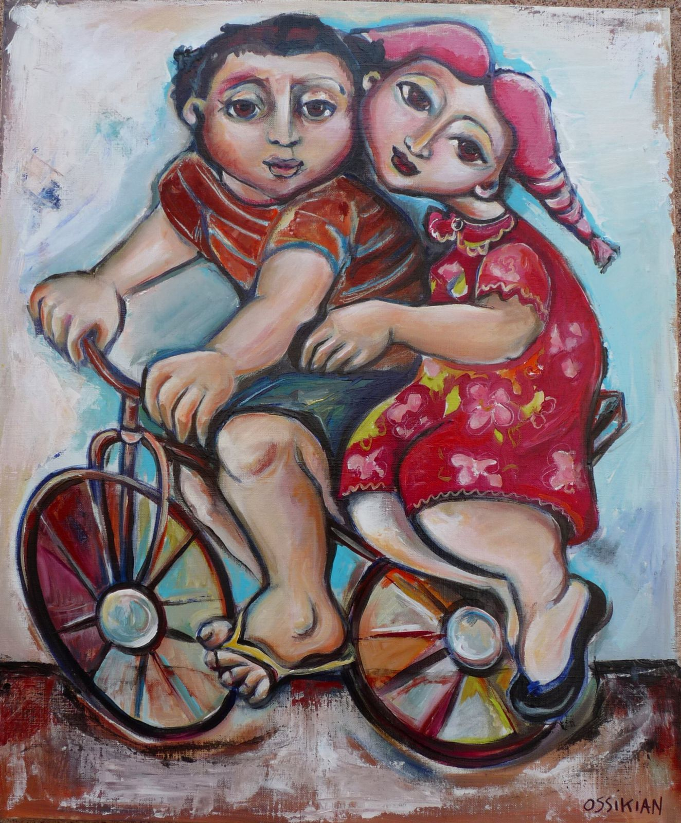 """couple à vélo"" 50 X 60 CM collection privée"