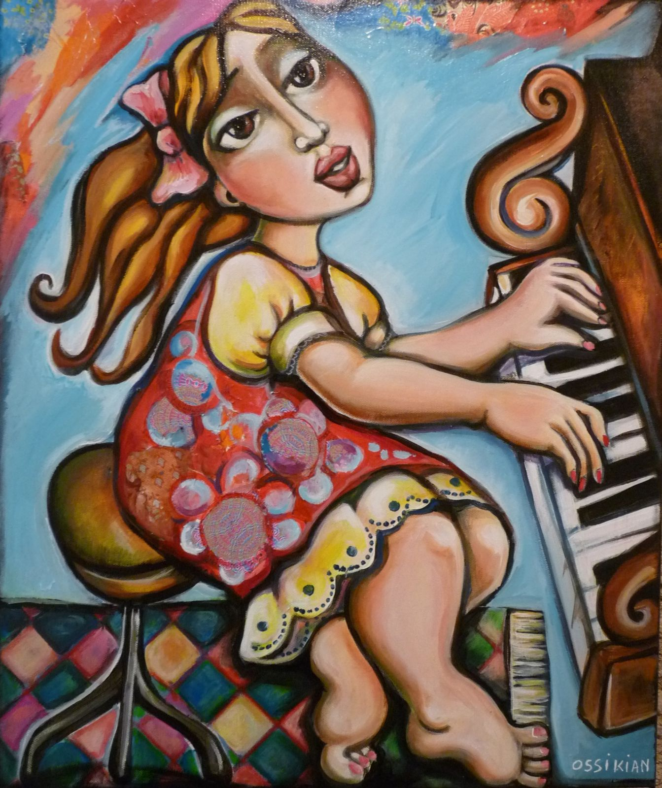 """La pianiste"" 50 x 60 cm (collection privée)"
