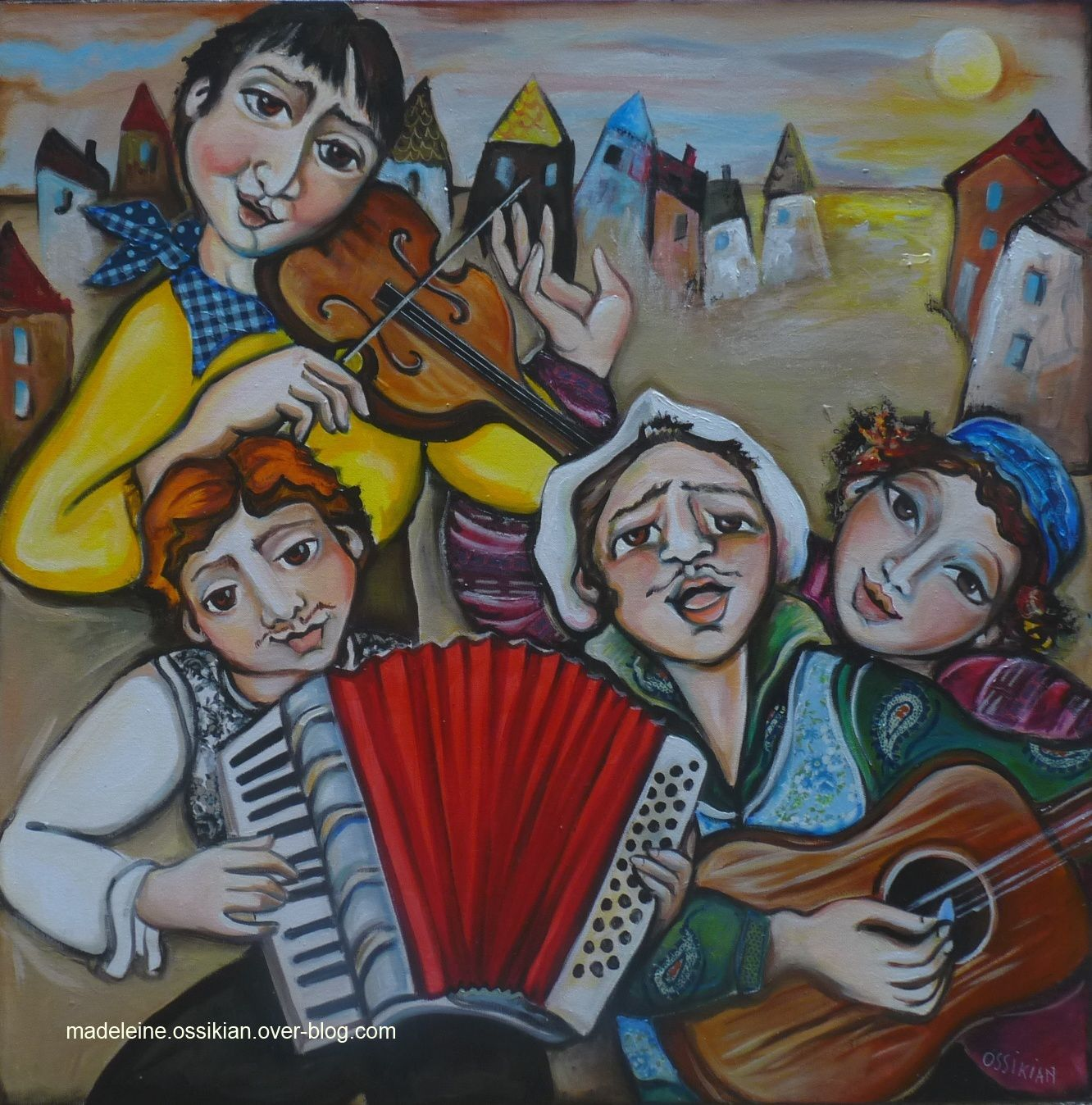 """les musiciens"" 80 x 80 cm (collection privée)"