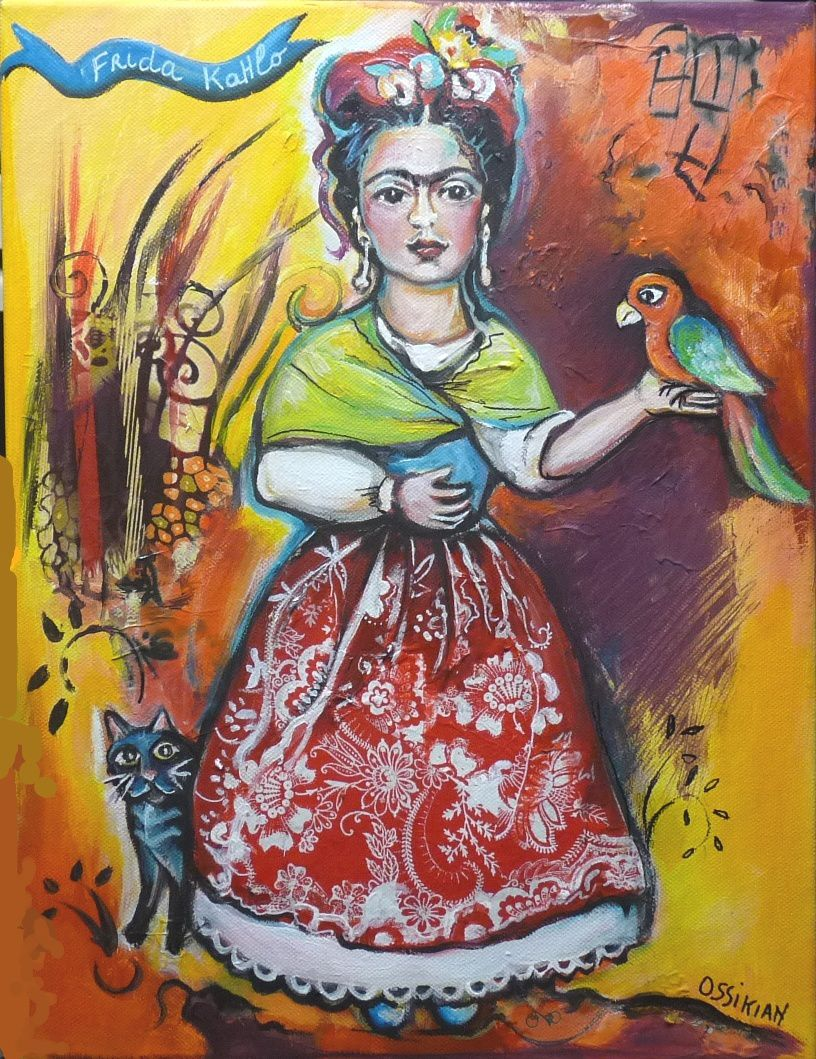 Frida et son perroquet  30 x 40 cm sur toile XL( collection privée)