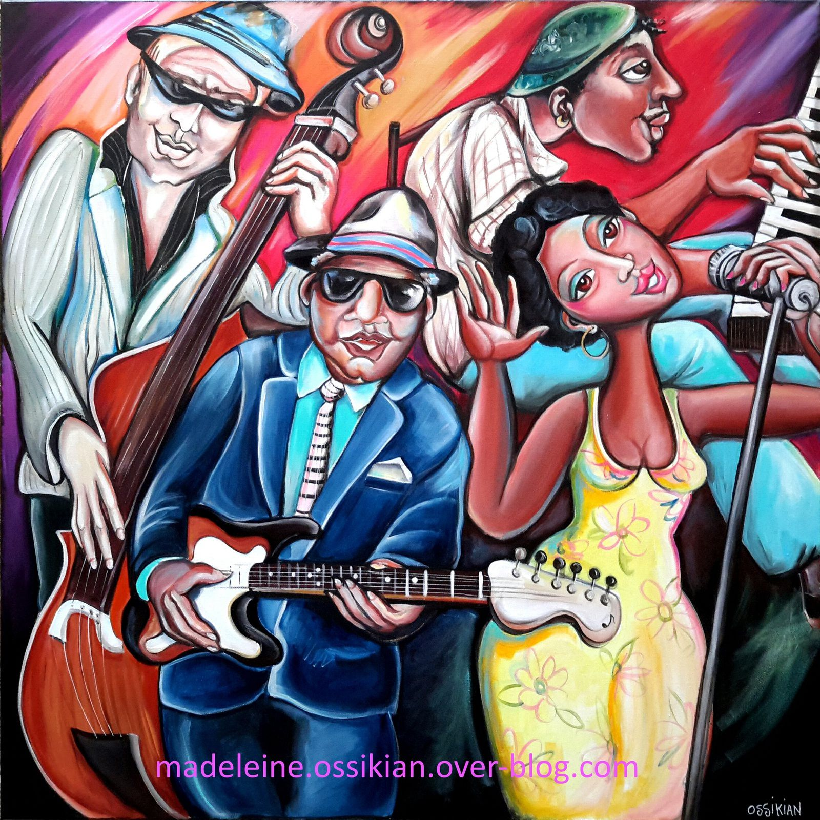 """the blues Band"" 90 x 90 cm (collection privée)  acrylique sur toile"