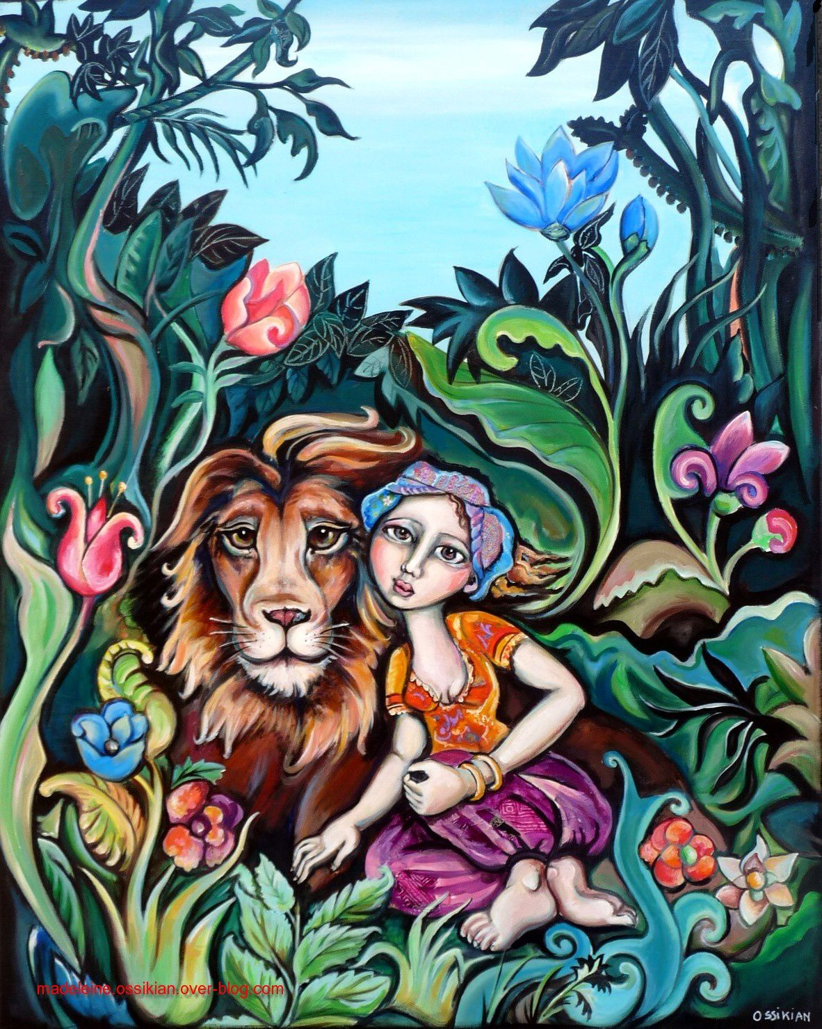 """Le lion et la femme"" 80 x 100 cm (collection privée)"