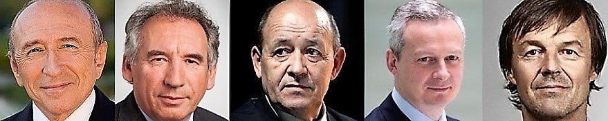 Les 22 membres du gouvernement Macron : Collomb, Bayrou, Le Drian, Le Maire, Hulot...