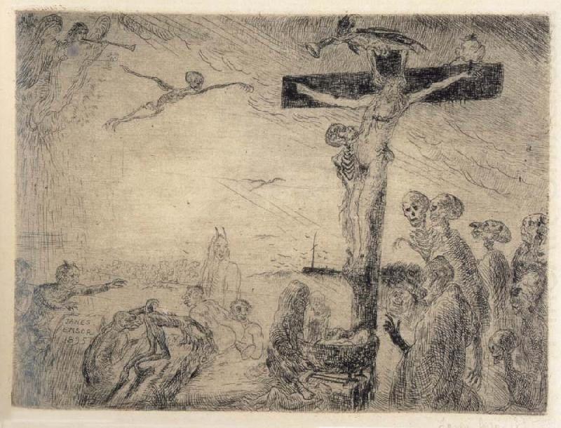 un Christ en croix de Ensor , une inspiration qui voisine celle de Rops