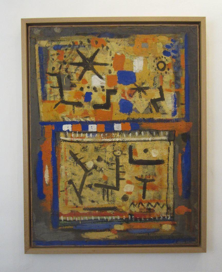 """jaune et gris , peinture à l' oeuf année 1950  ici ces idéogrammes """"écriture"""" de Bissière à partir de cette période"""