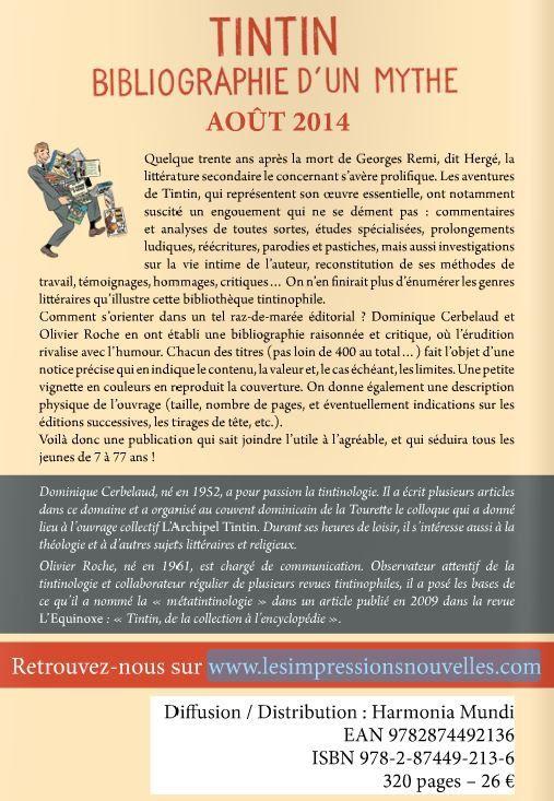 Livre &quot&#x3B;Tintin. Bibliographie d'un mythe&quot&#x3B; - Parution Août 2014