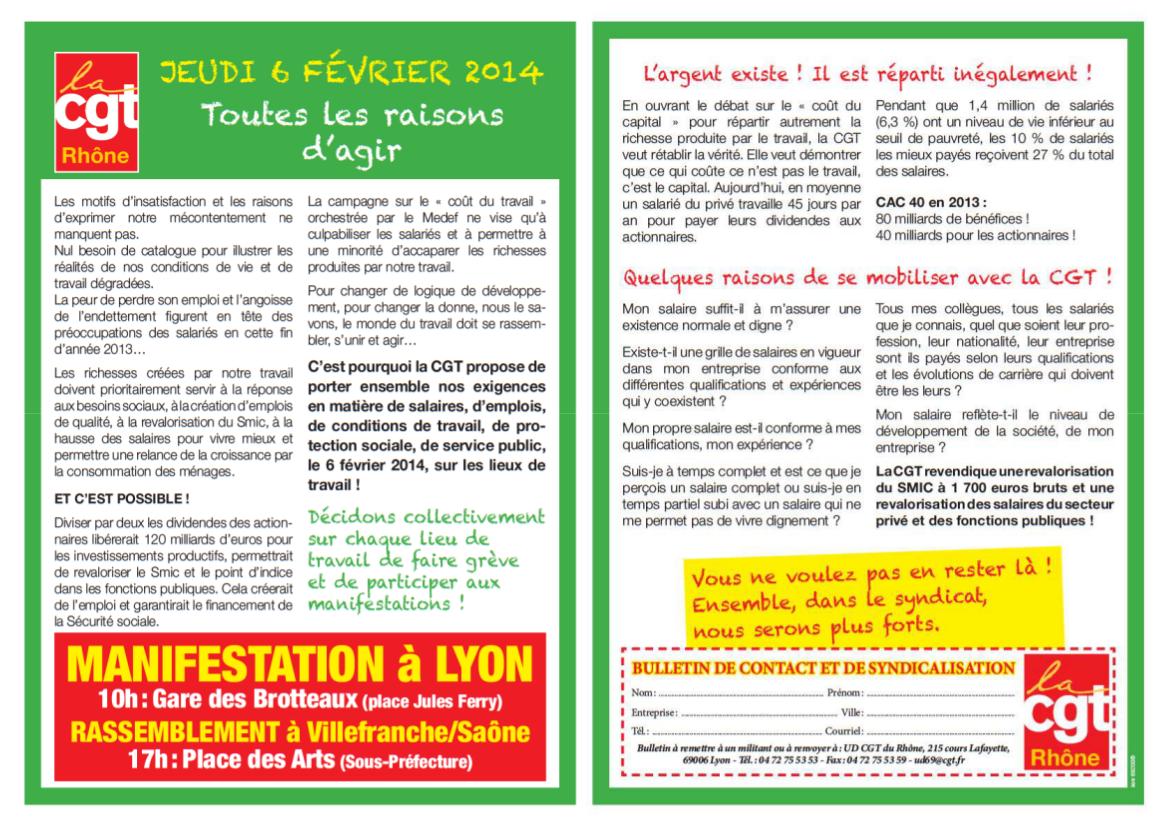 Grève nationale le 6 février 2014