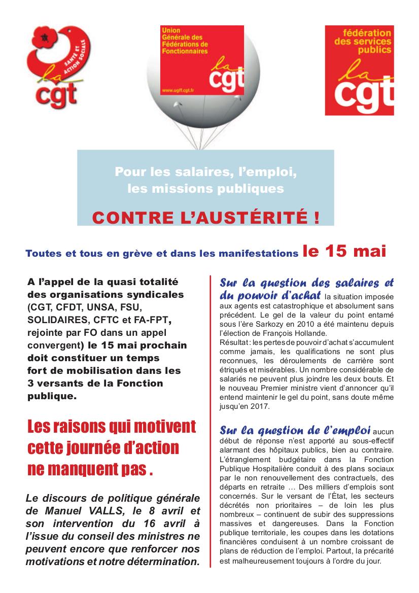 Fonction publique : Journée Nationale d'action le 15 mai. MANIFESTATION à 10H30 place Bellecour à la Préfecture.