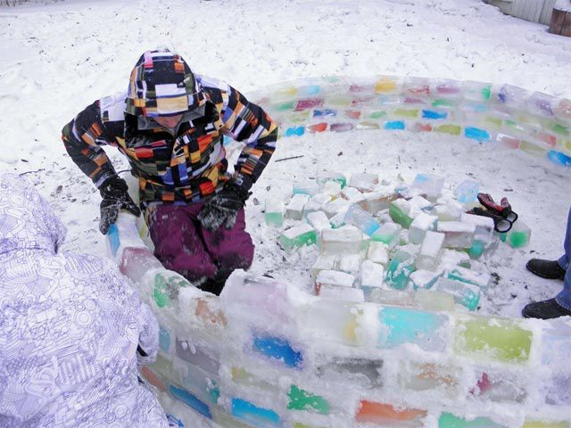 a coloured ice igloo