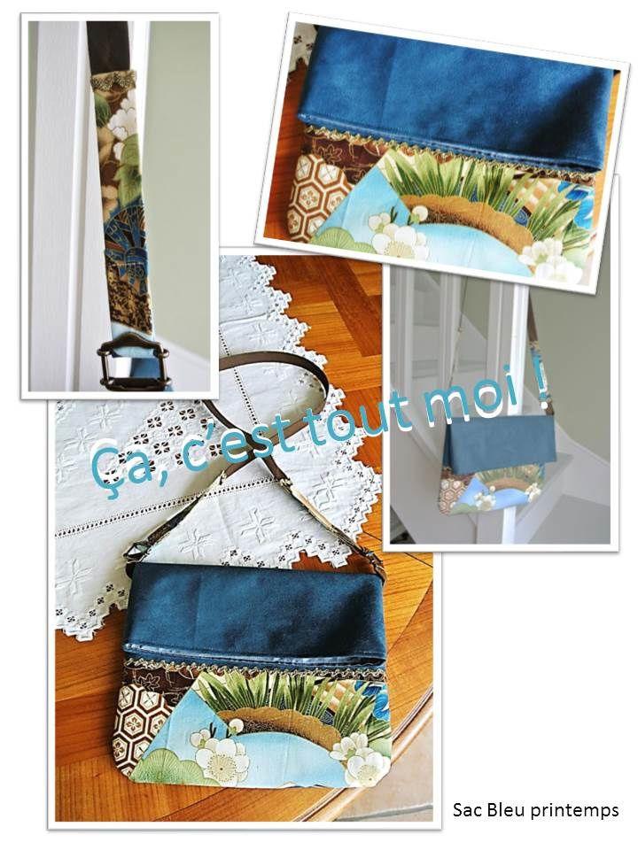 Sac Bleu Printemps : 32 X 27 cm déplié&#x3B; 21 X 27 cm plié&#x3B; suédine bleue de Tissus anglais, tissus japonais de mon stock, croquet doré Modes & Travaux et boucles, bouton magnétique Sacs Malice.