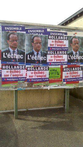 1 an de François Hollande - Collage départemental réalisé par les JPOP95