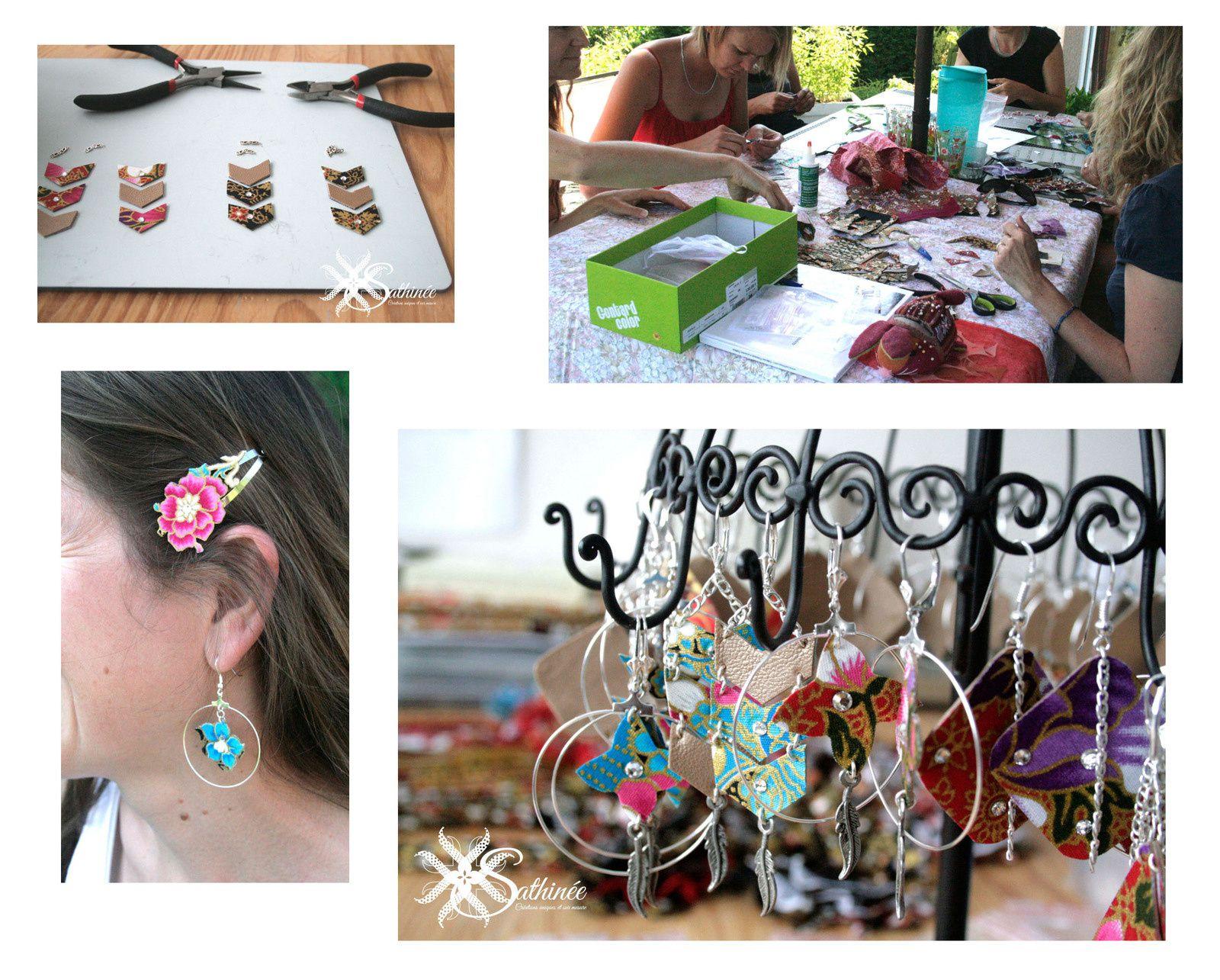 Pour 1h30 de votre temps on peut réaliser des bijoux (boucles d'oreilles et bracelet ou barrette)
