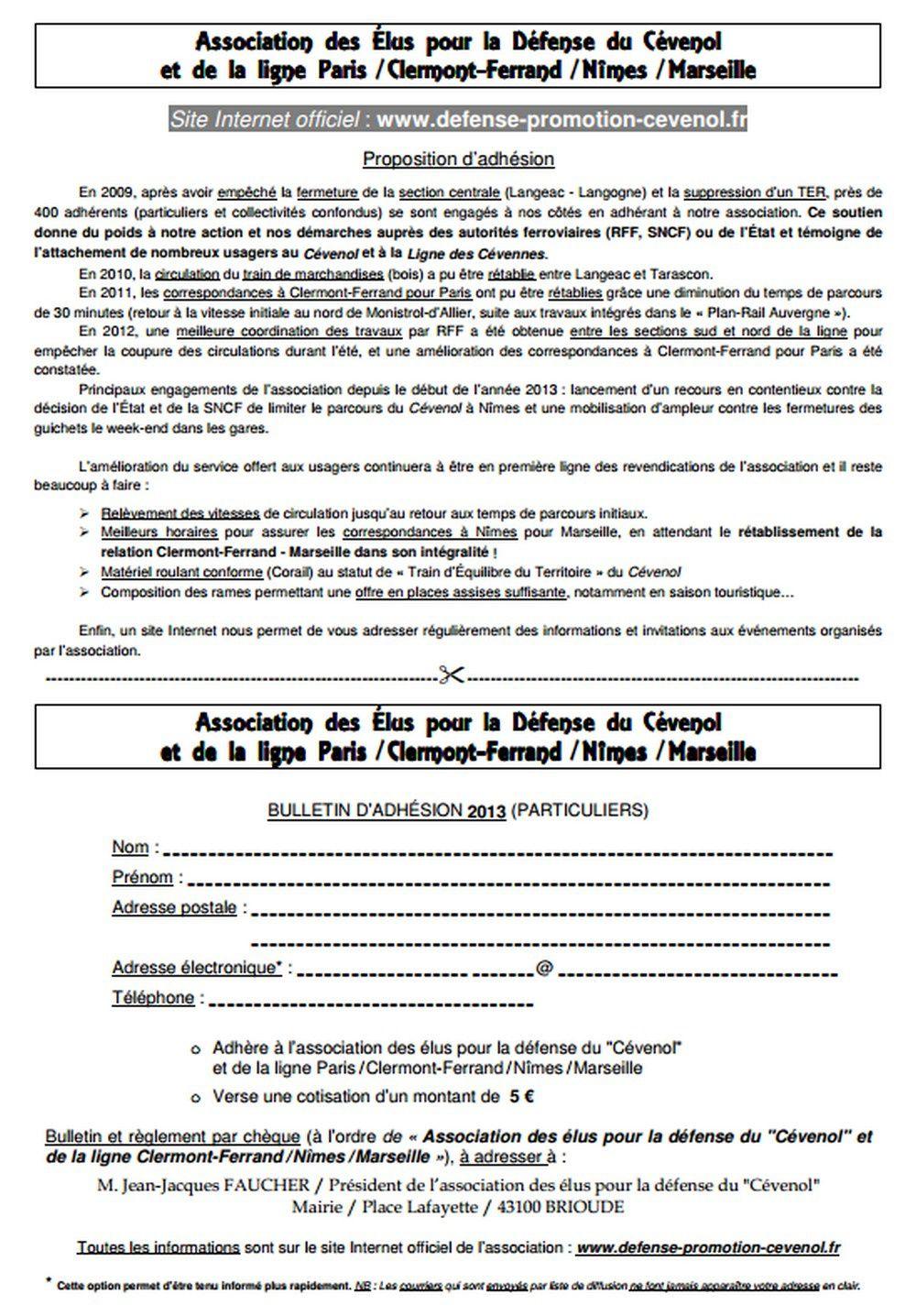 Bulletin d'adhésion : Association des élus pour la défense du Cévenol et de la ligne Paris-Nîmes