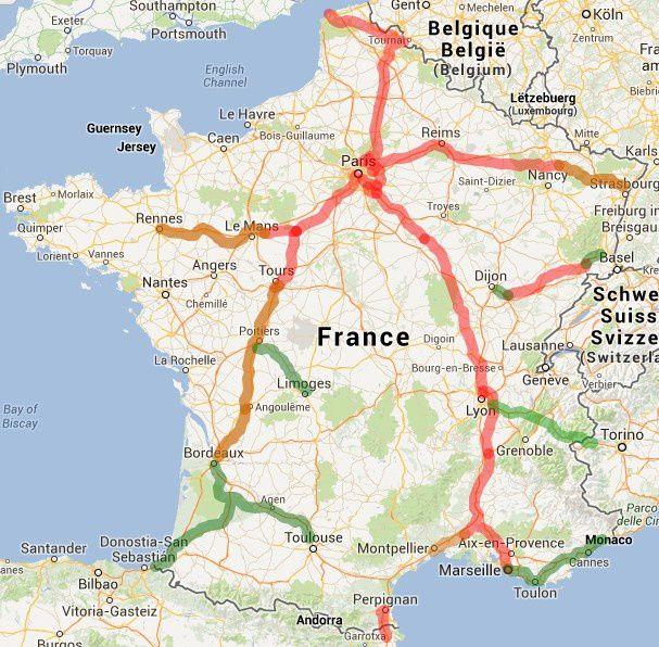 Carte des LGV en France : LGV existantes (rouge), LGV en construction (orange), LGV en projet et au tracé défini (vert)