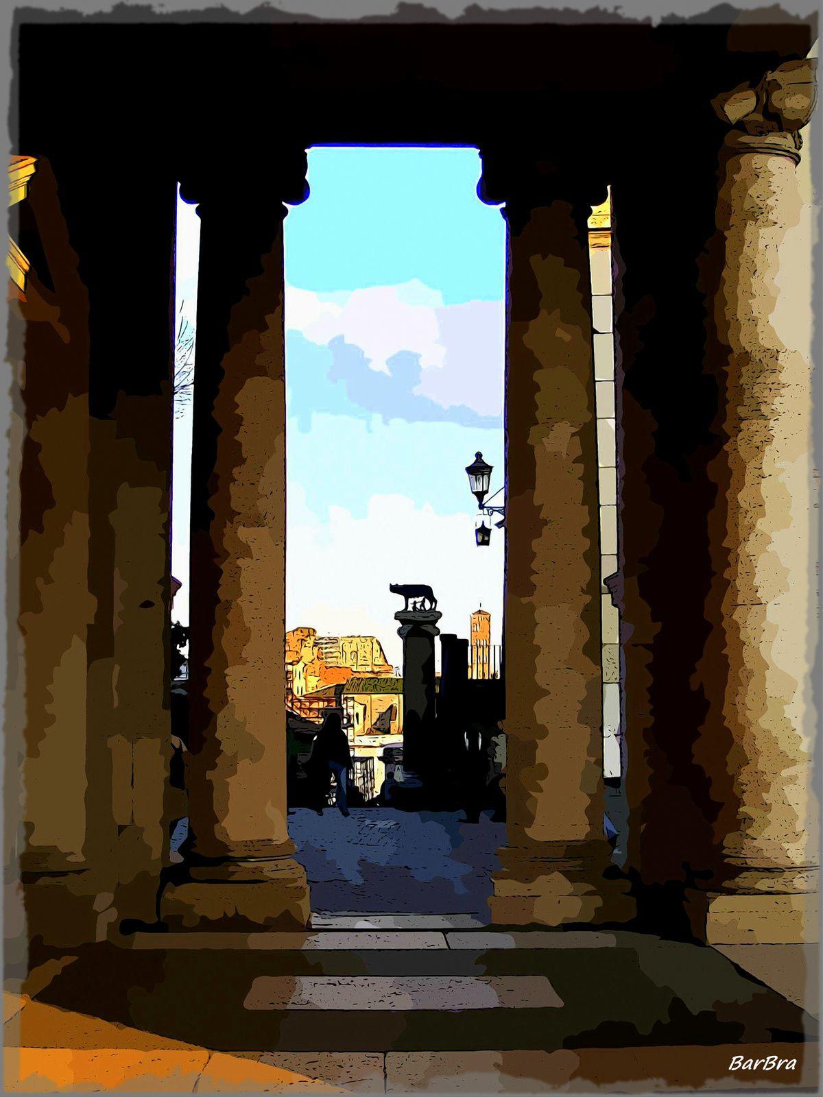 ... e, poi, sulla piazza, un'insolita prospettiva verso i Fori dal portico del Palazzo Nuovo