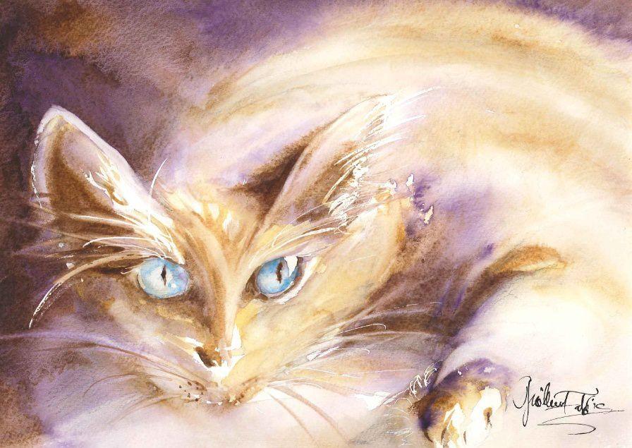 alors à noël j'ai donc peint un chat, mais puisque j'ai aussi peint des vues de montagne, voilà la dernière aquarelle pour illustrer un article dans la revue pyrénéenne, article écrit par mon collègue bruno gillet: