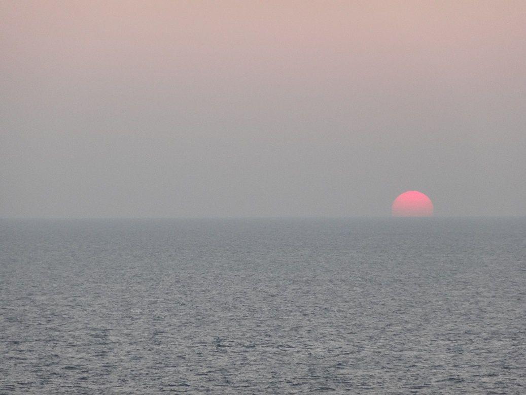 Coucher de soleil sur Chausey depuis Granville