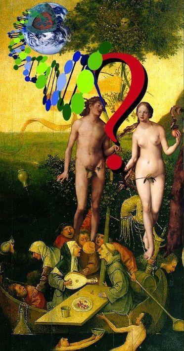 Adam et Eve, de Albrecht Dürer dans la Nef des fous de Jérôme Bosch, s'interrogeant sur leur devenir génétique