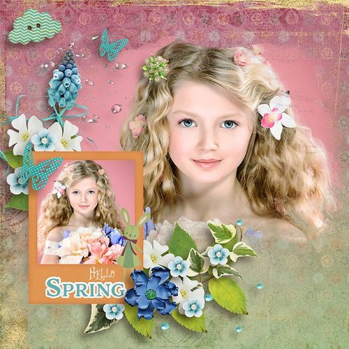 "Mes pages avec le kit"" Spring as sprung"" de Vero The French Touch"
