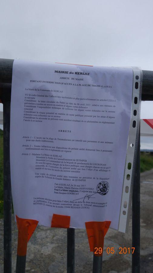 Plage fermée à Trezmalaouen depuis le 26 mai 2017