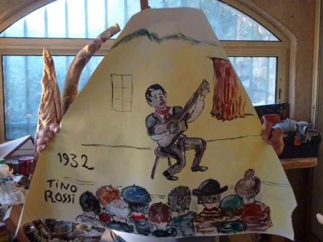 Fresque en préparation pour la salle Laura