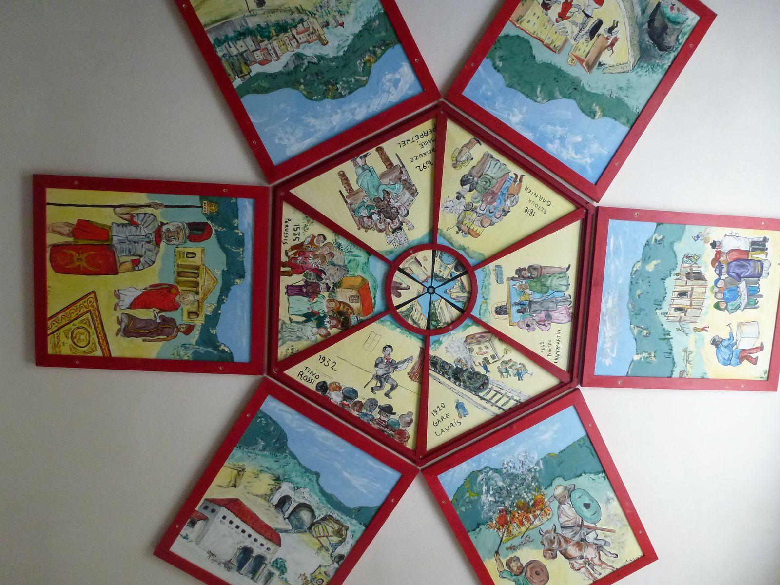Tableaux au plafond. Exemple de scène: construction de la Chapelle Saint-Roch