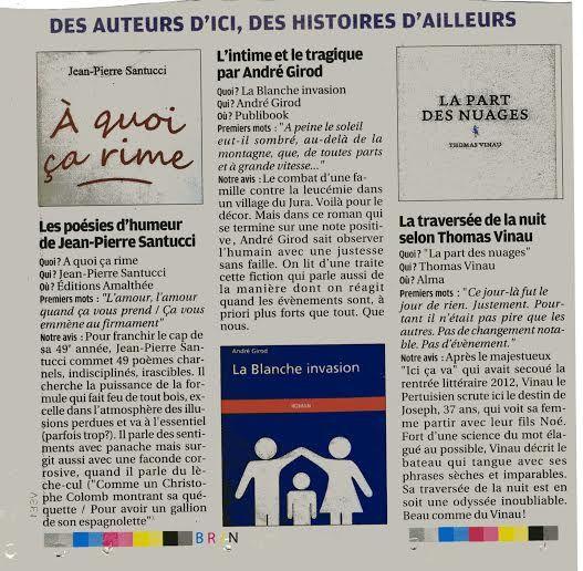 """Rentrée littéraire pour le journal La Provence: le livre """" La Blanche Invasion"""" a été choisi parmi les six meilleurs!"""