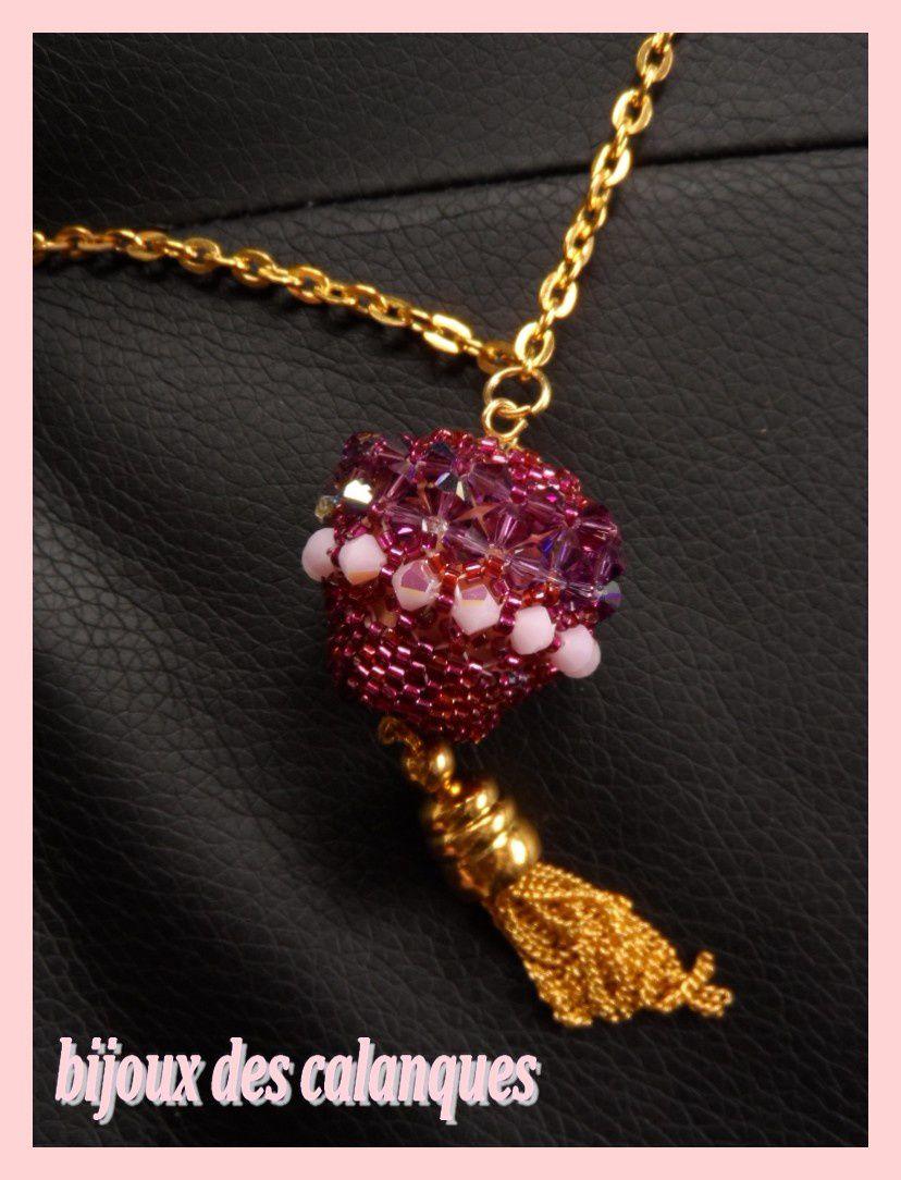 collier  boule perlée et perle verre swaro