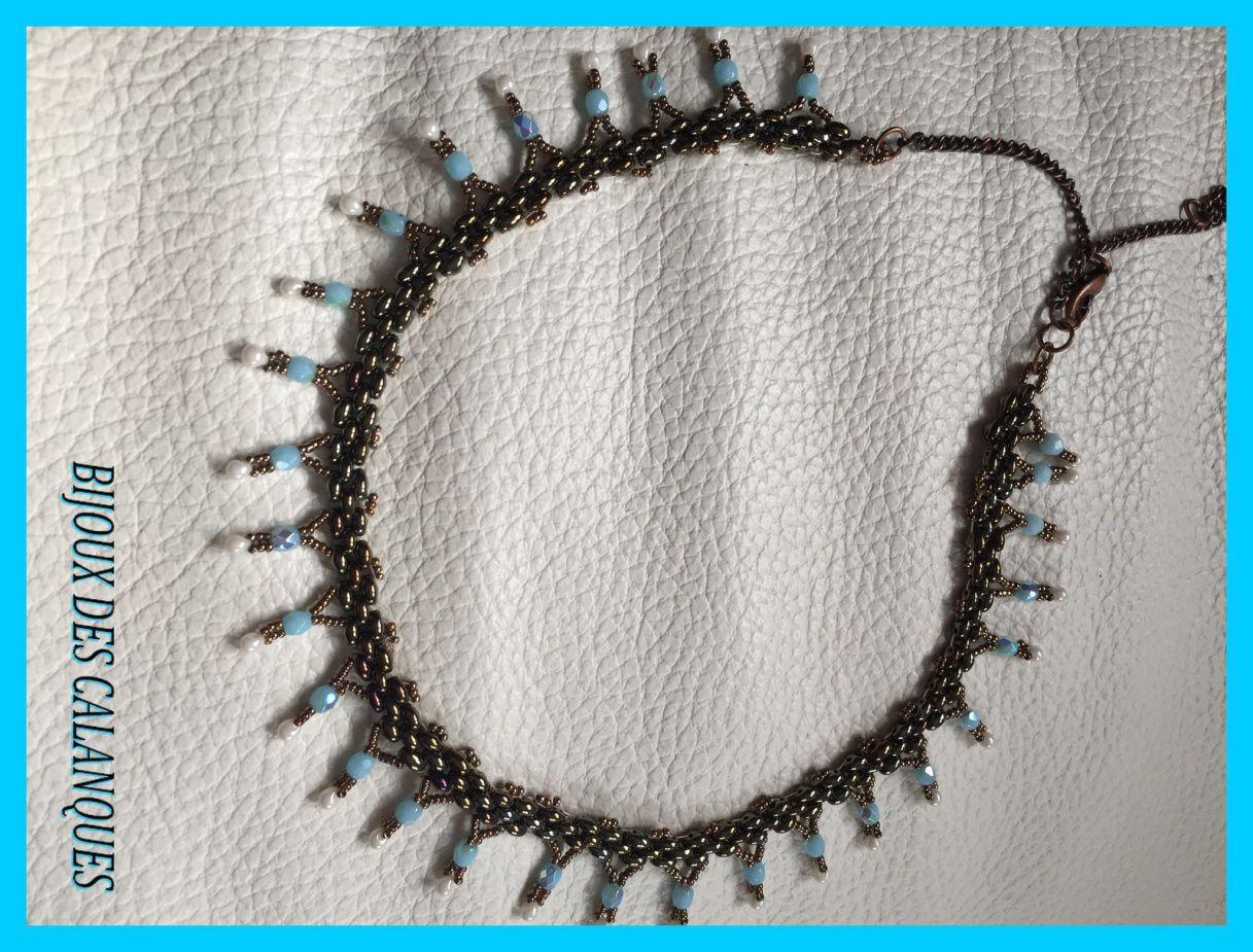 collier turquoise et bronze avec gouttes