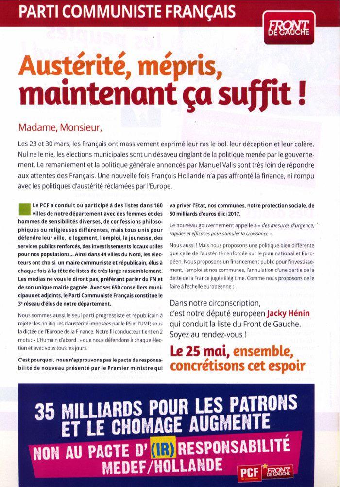 Jacky Hénin conduit la liste du Front de Gauche le 25 mai