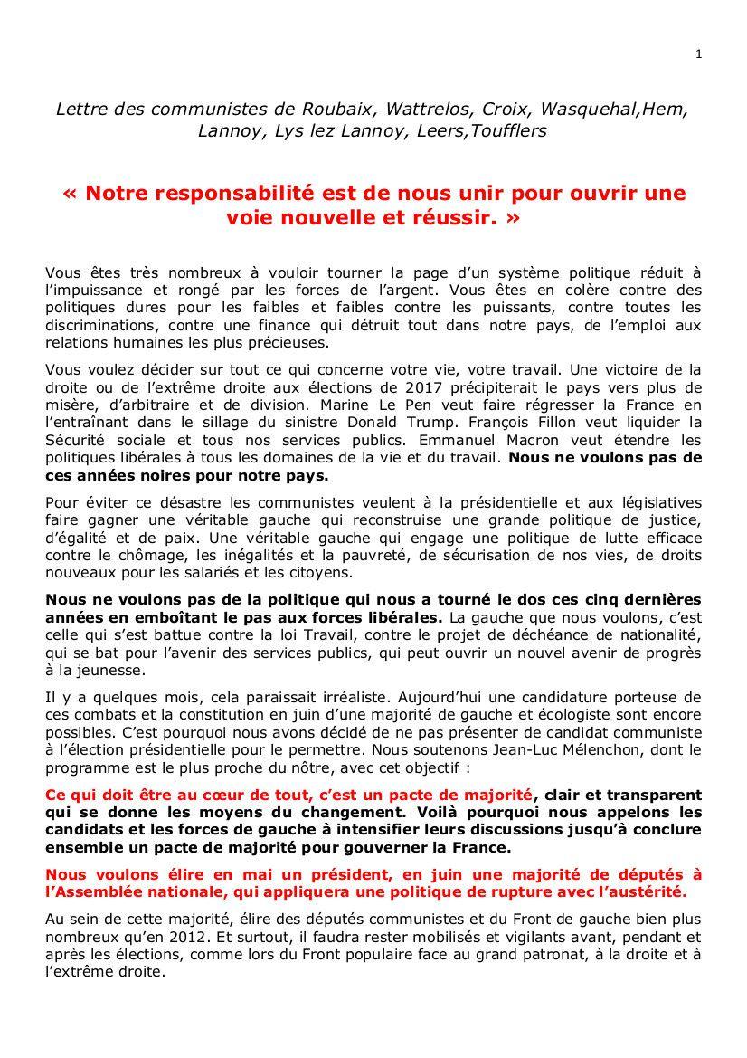 Lettre des communistes de Roubaix, Wattrelos, Croix, Wasquehal, Hem, Lannoy, Lys-lez-Lannoy, Leers, Toufflers