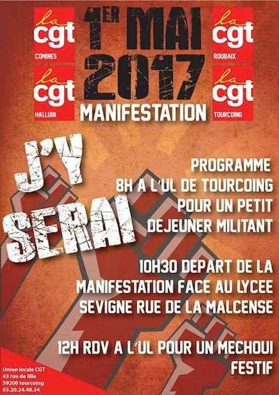 Manifestation du 1er mai 2017, Roubaix-Tourcoing-Comines-Halluin