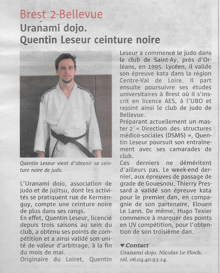 Quentin Leseur, ceinture noire
