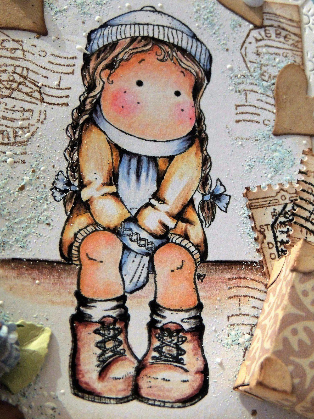 ...gros plan sur ma Tilda colorisée aux crayons faber castell...