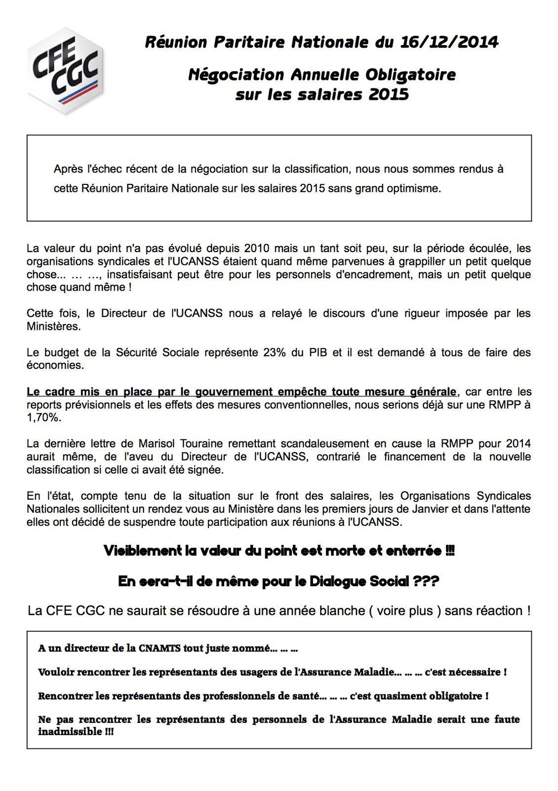 Réunion paritaire nationale du 16 décembre 2014