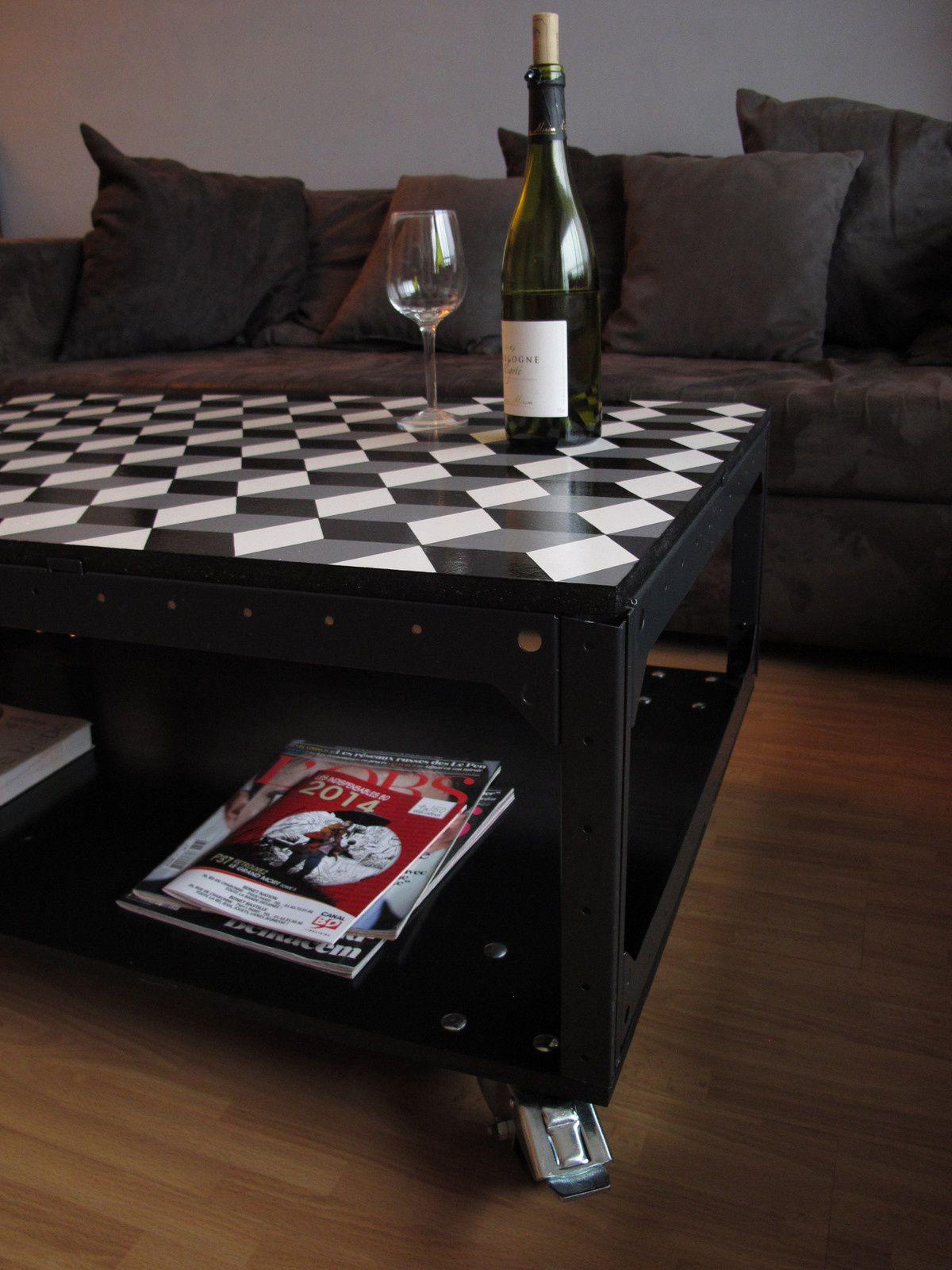 table basse à roulette bois et acier déco loft contemporain industrielle