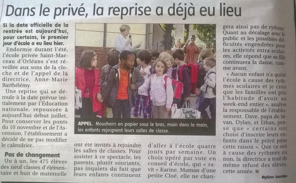 Ecole St Marceau rentrée ds la Rep.