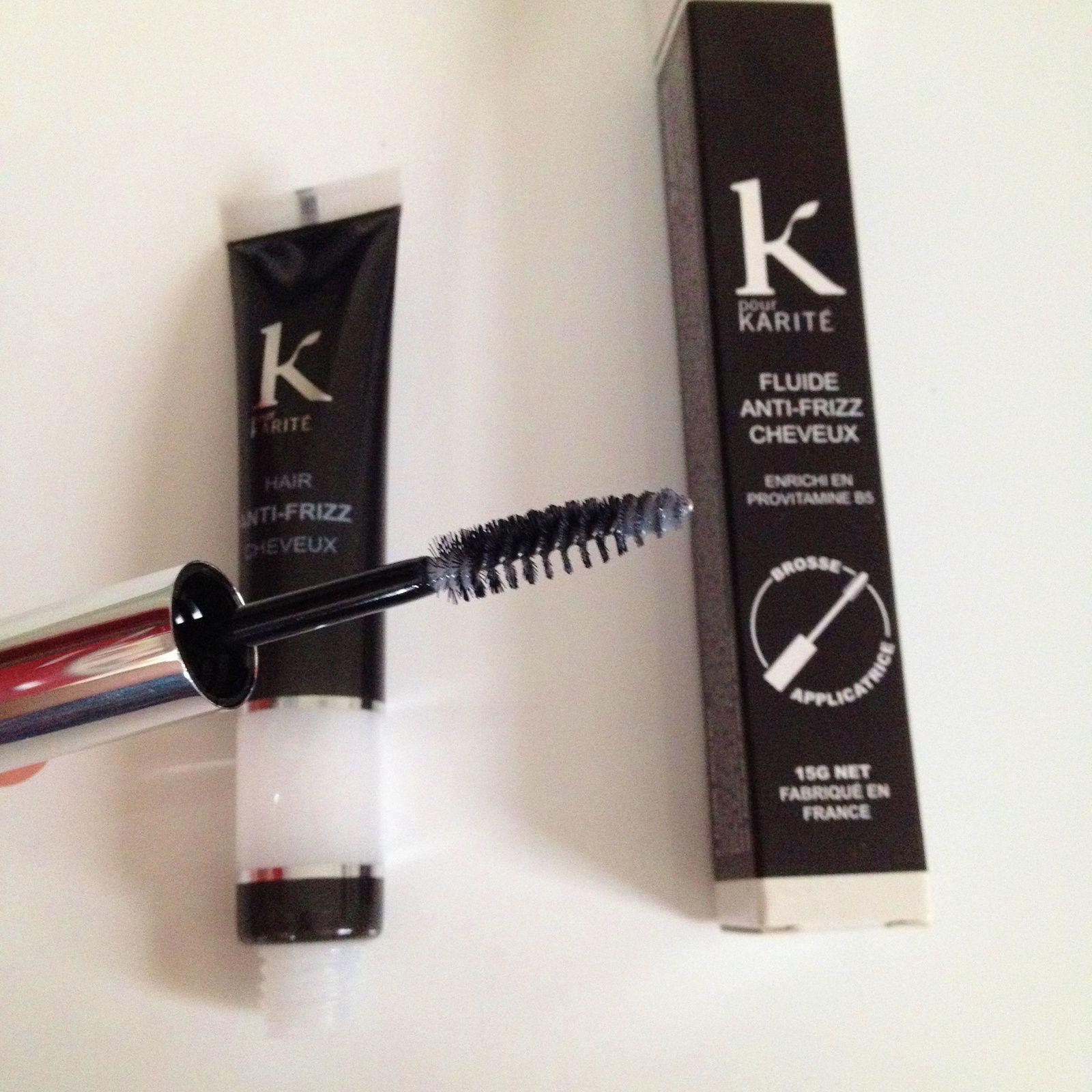 Un mascara anti frizz de K pour Karité.Sa promesse: éliminer les frisottis en un seul geste et sans graisser le cheveu.