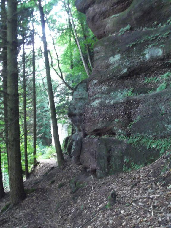 Après la route du Fossé des Pandours, prendre la direction du la Gloriette du Koepfel. Le chemin longe des rochers de taille impressionnante