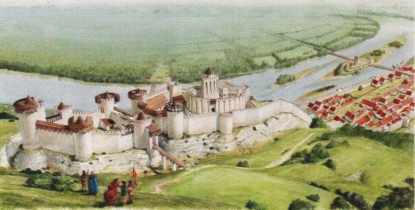 Aquarelle du Château-Gaillard réalisé d'après les conseils de Dominique Pitte
