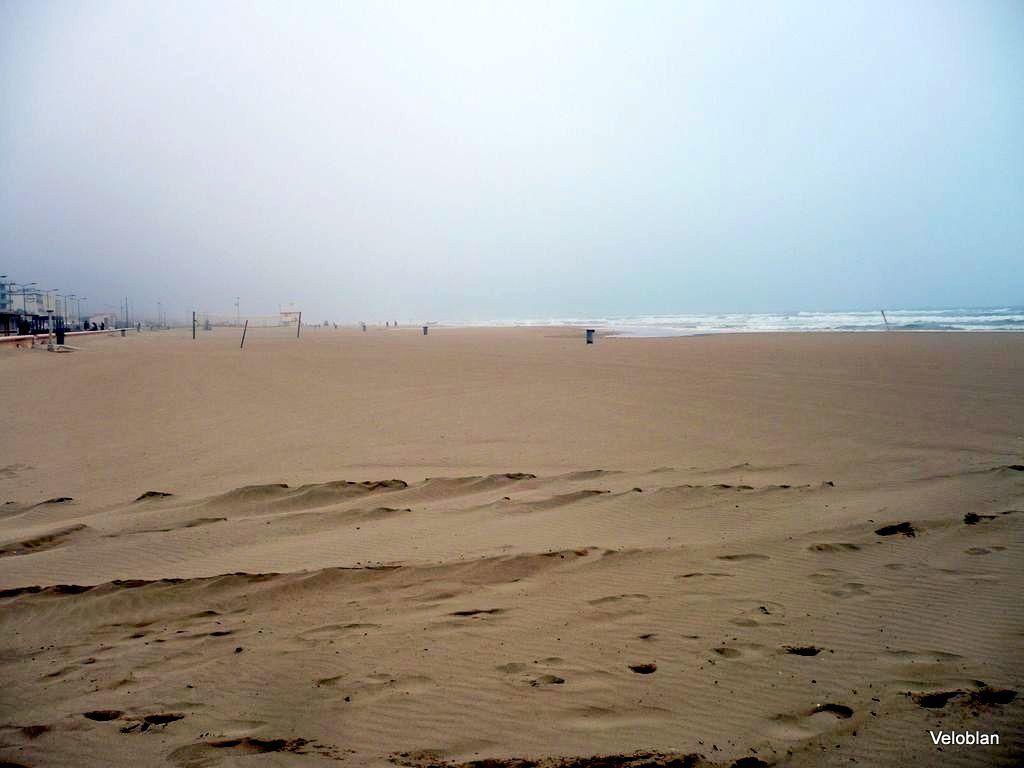 Temps très brumeux, personne sur la plage, que nous.